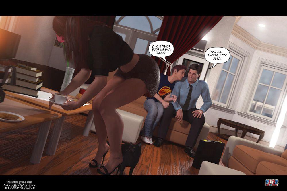 Hentai 3D - Se masturbando pra mamãe - Quadrinhos Incesto